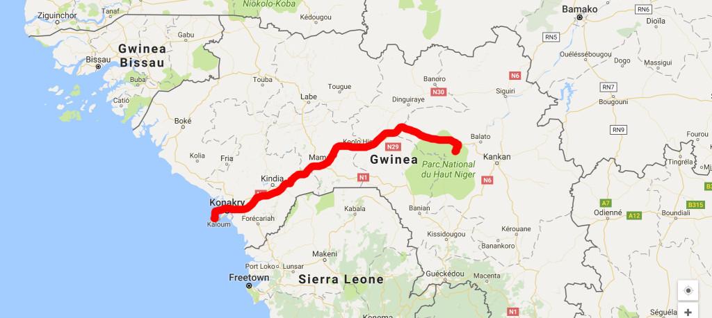 mapa gwinea route